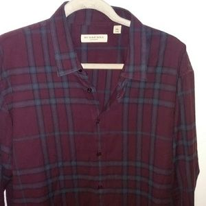 Flawless BURBERRY maroon exploded check button up